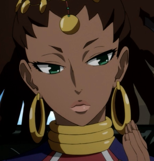 Lasithi's earrings double as a cell phone. Pretty convenient! Capture from the Funimation stream.
