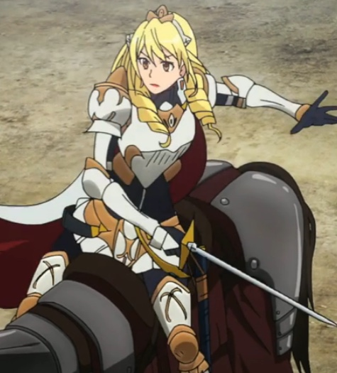 Boozes defends the first round of arrows, but the next struck her horse. Capture from the Crunchyroll stream.