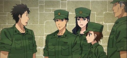 The entire third recon team volunteered to help Itami rescue the princess. Capture from the Crunchyroll stream.