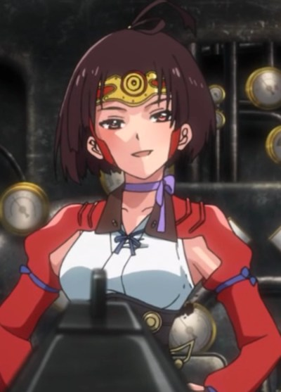 Not surprisingly, Mumei's not impressed when Kurusu points his rifle at her. Capture from the Amazon stream.