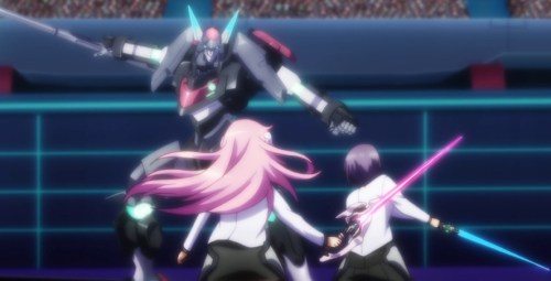Ayato and Julis press their attack against AR-D -- just before RM-C intervenes. Capture from the Crunchyroll stream.
