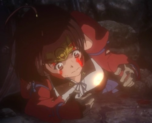 Mumei, exhausted and hungry, begins to panic as her heart suddenly glows. Capture from the Amazon Prime stream.
