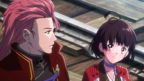 Mumei tells her brother that she's been traveling with a self-made Kabaneri. She still seems happy from the experiences in the last episode! Capture from the Amazon Prime stream.