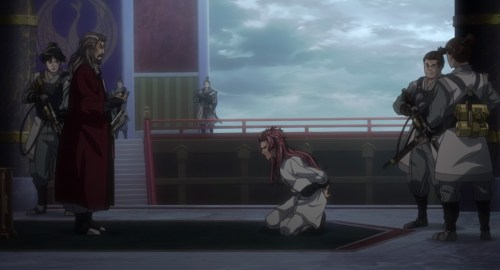 Biba, under heavy guard and in shackles, kneels before the shogun. Capture from the Amazon Prime Stream.