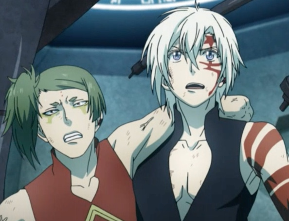 D.Gray-man HALLOW Episode 108: Even though Tokusa hadn't been very kind to him, and even though the effort would slow him down, Allen didn't think twice about trying to help the Third Exorcist. Capture from the Funimation stream.