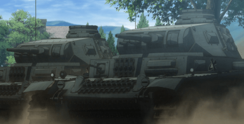Germanian armor brutalized <>'s antiquated tanks. Capture from the Crunchyroll stream.
