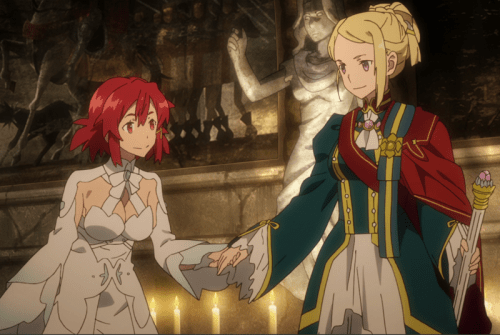 Izetta and the Princess pledge their mutual support to each other. But what forces are aligning against them? Capture from the Crunchyroll stream.