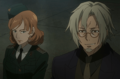 What will Belkman find in Design Division 9? Will he ever earn the Frau's trust? Capture from the Crunchyroll stream.