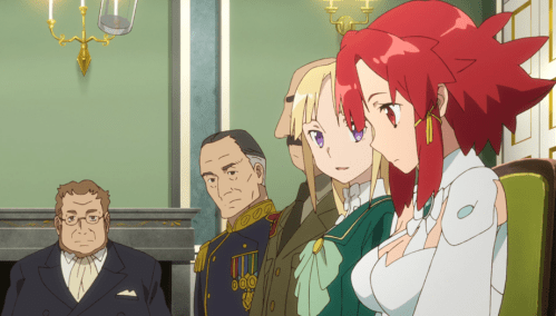 As usual, Izetta is not comfortable meeting other people. And the more important the person, the more uncomfortable she is. Capture from the Crunchyroll stream.