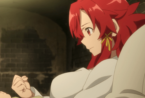 Izetta contemplates the advantage the red stone bestows on Sophie. Capture from the Crunchyroll stream.