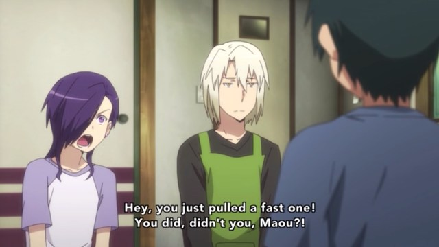 The Devil Is a Part-Timer Episode 6: Hanzou sees Sadao try to change the subject