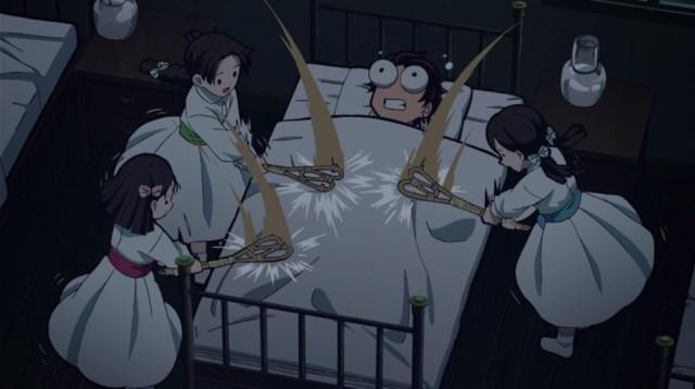 Review of Demon Slayer: Kimetsu no Yaiba Episode 25: Tanjiro had three enthusiastic helpers in Niho, Kiyo, and Sumi.