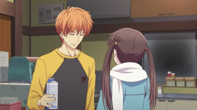 Fruits Basket Season 2 Episode 24: Even Kyou had to chuckle at the pompom strike.