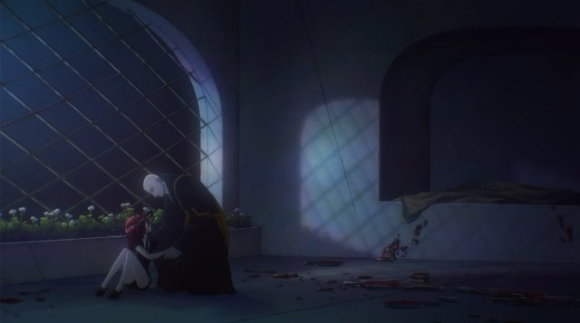 Land of the Lustrous Episode 4: Kongou tries to comfort Cinnabar