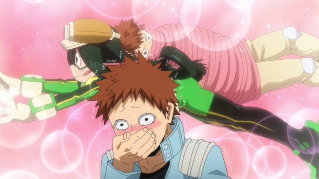 My Hero Academia Season 5 Episode 92: Hard to blame tsuburaba/Aeris for being distracted by Asui/Froppy's tongue.