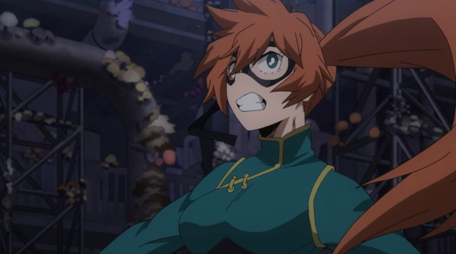 My Hero Academia Season 5 Episode 94: Itsuka's costume has a distinct lack of pockets.