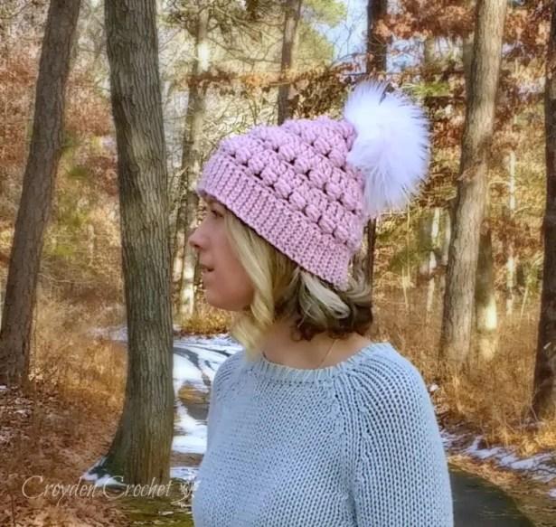 winterscape crochet beanie