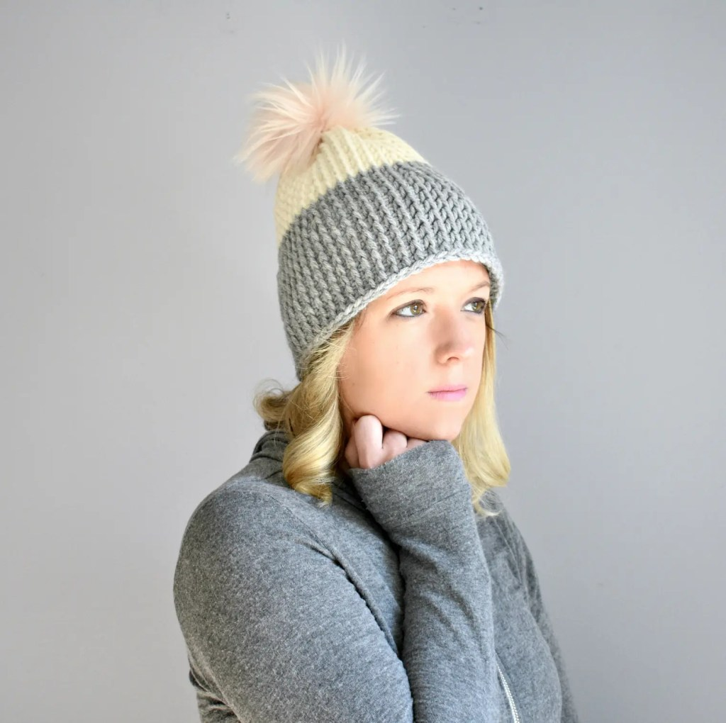 colorblock tunisian beanie