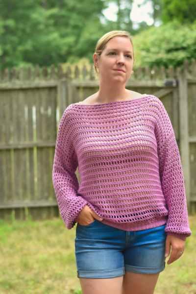 crochet open mesh top