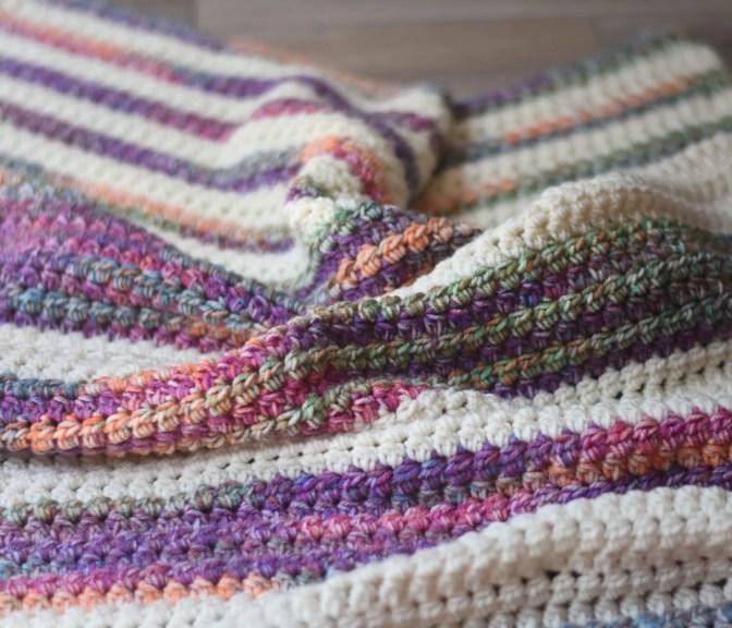 sunset stripes crochet blanket