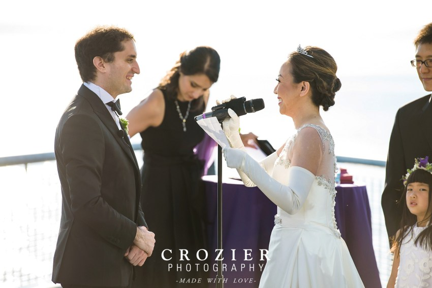Bride singing to groom on wedding day