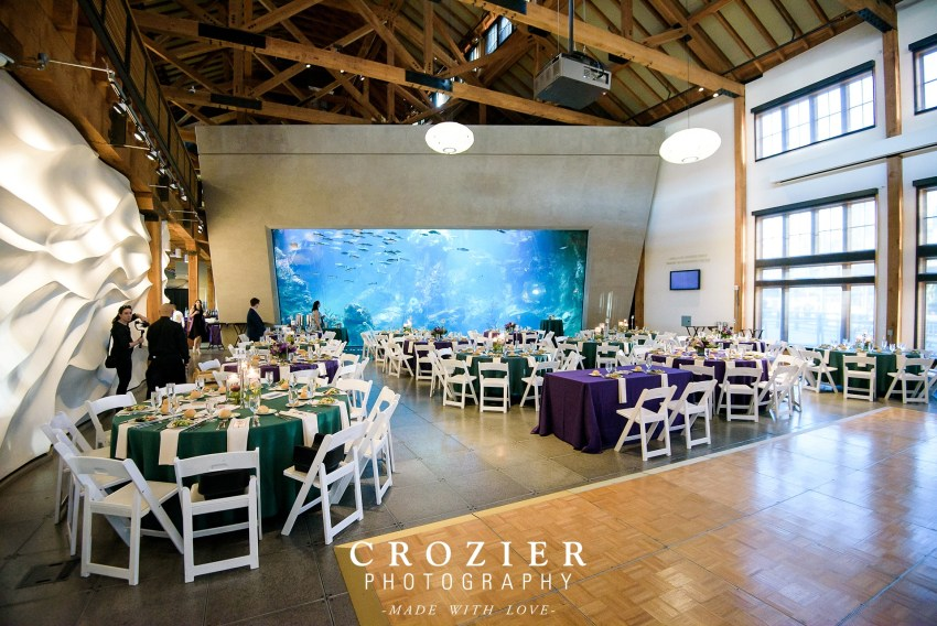 Wide view of the reception room at the Seattle aquarium