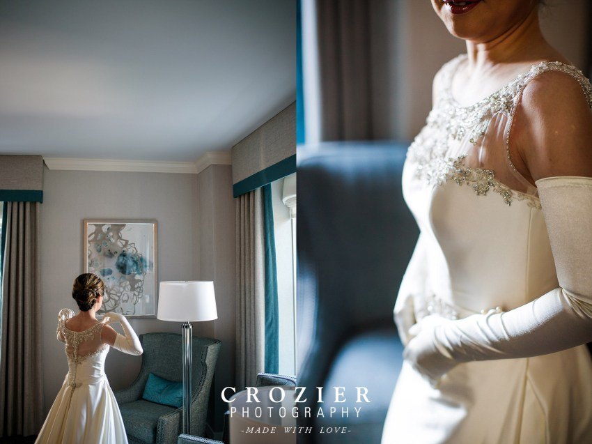 Bride getting ready Seattle Fairmont Hotel