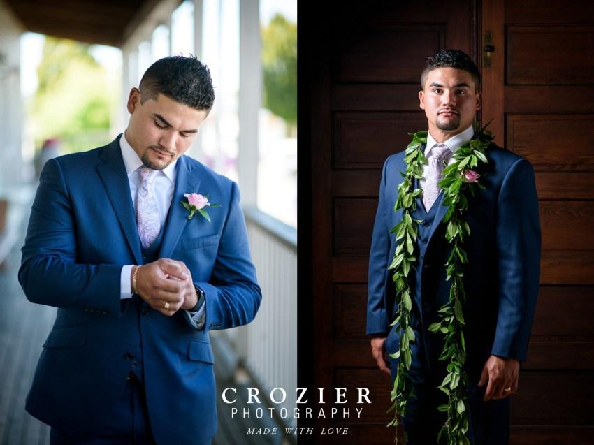 groom with leaf lei