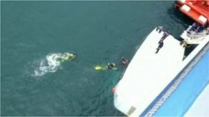 Photo of the lifeboat that fell from the ship earlier this morning.