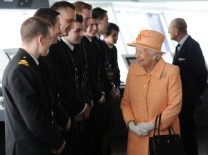Queen Elizabeth greets the Officers of Britannia.