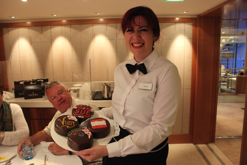 Jelena, showing off the cakes we made in Vienna.