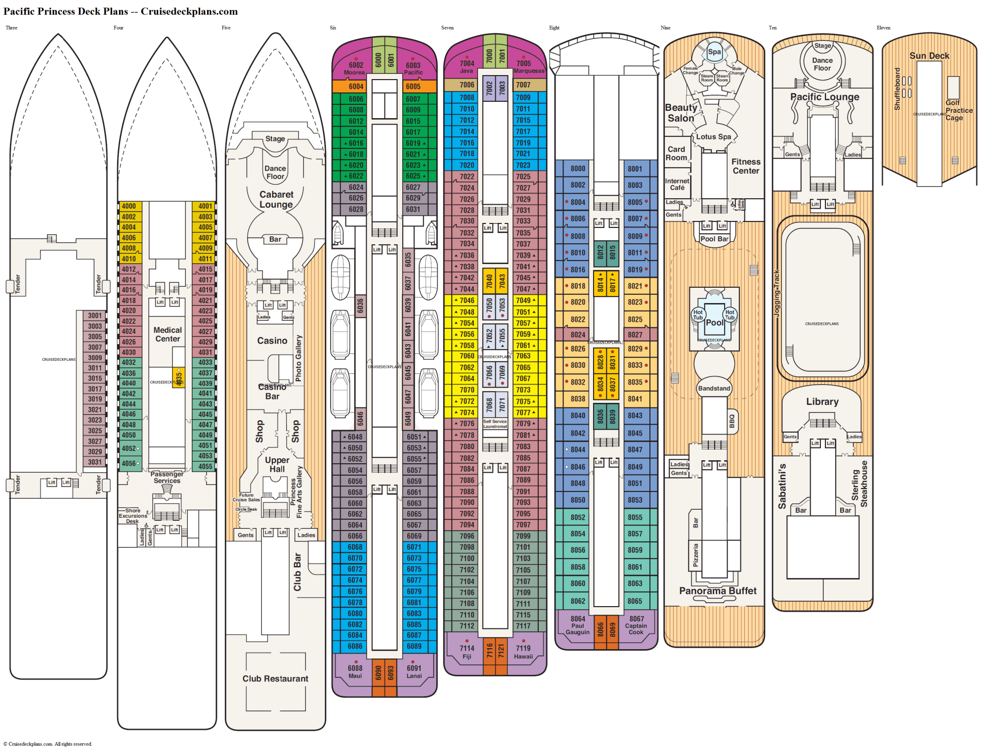 hight resolution of pacific princess deck plans