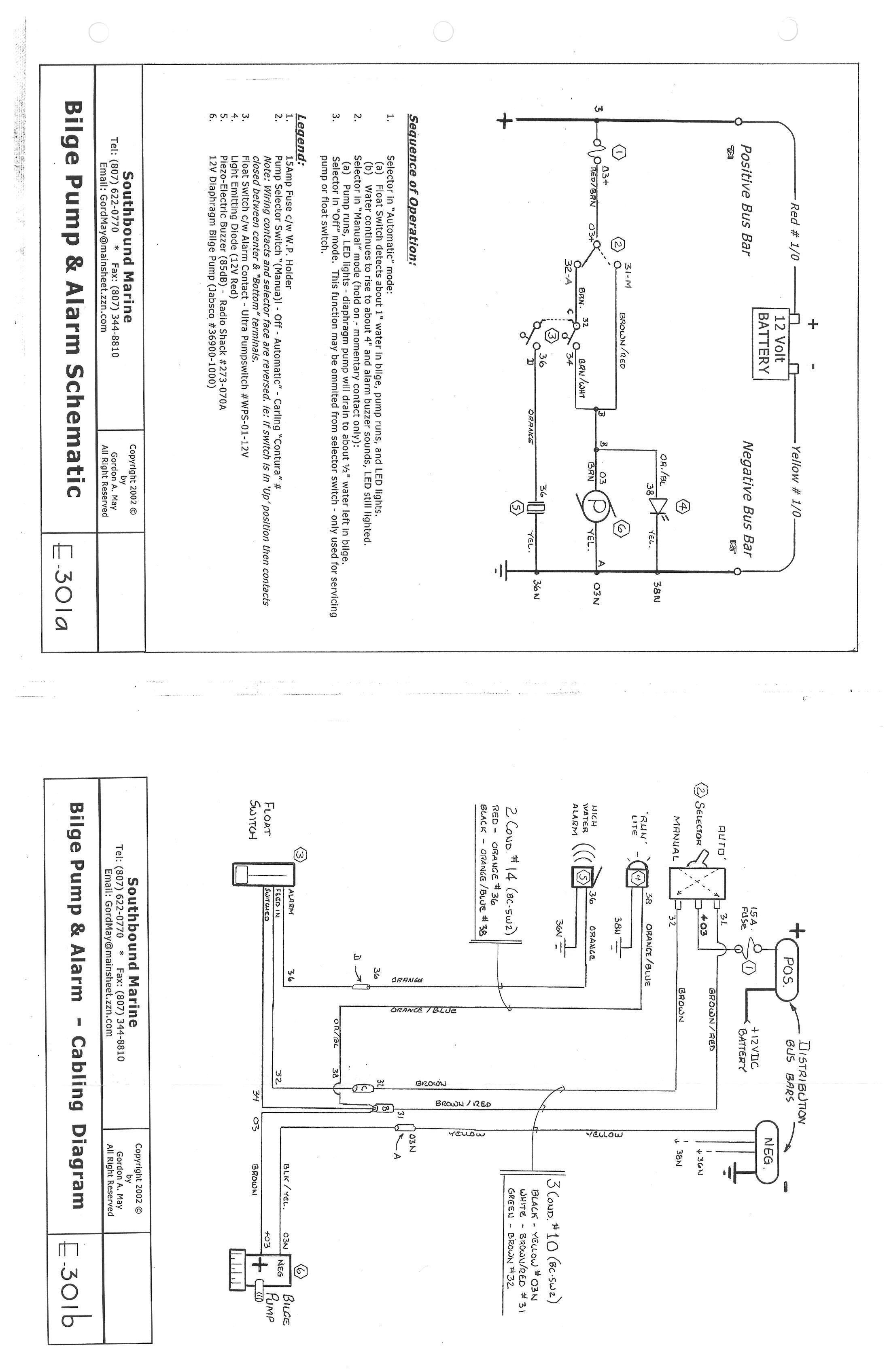 bilge pump float switch wiring diagram of 3 way schematic and alarm e 301a cruisers sailing