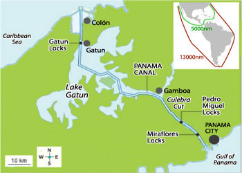 Image result for map of the panama canal