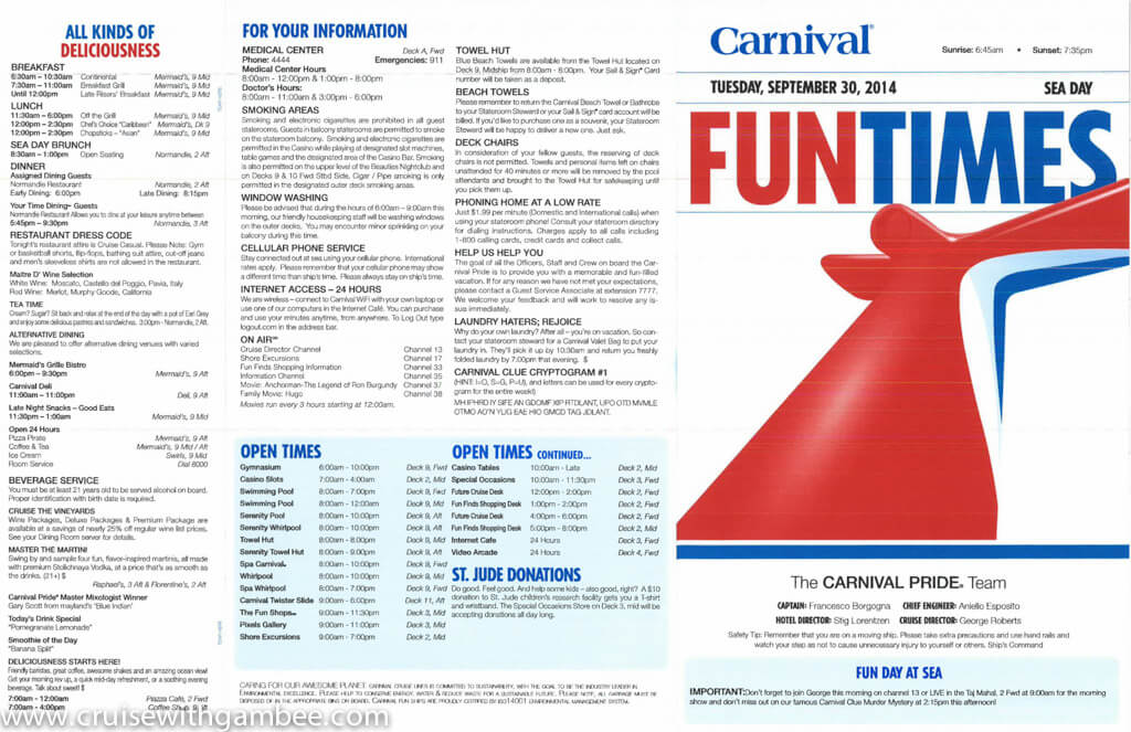 Inspiration Carnival Cruise Daily Schedule Circuit