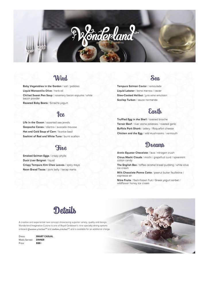 Dynamic Dining Menus on Royal Caribbean  cruise with gambee