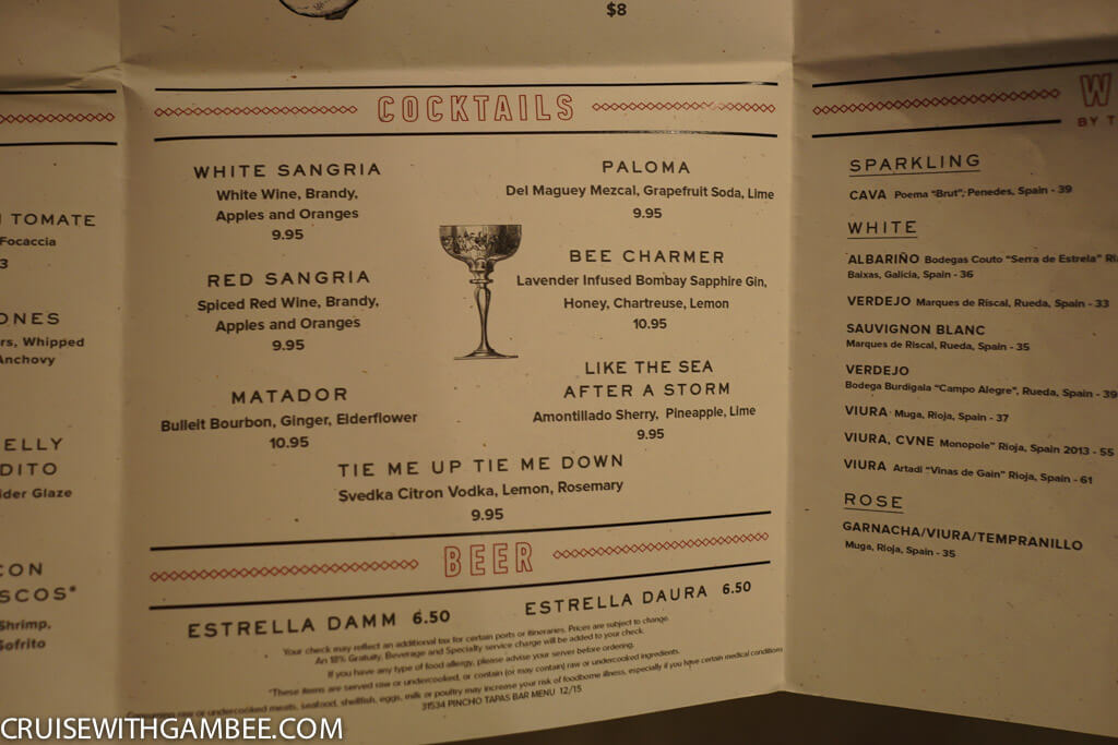 Norwegian Escape Menus Cruise With Gambee