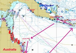 Map of our cruising PNG Milne bay province 2016