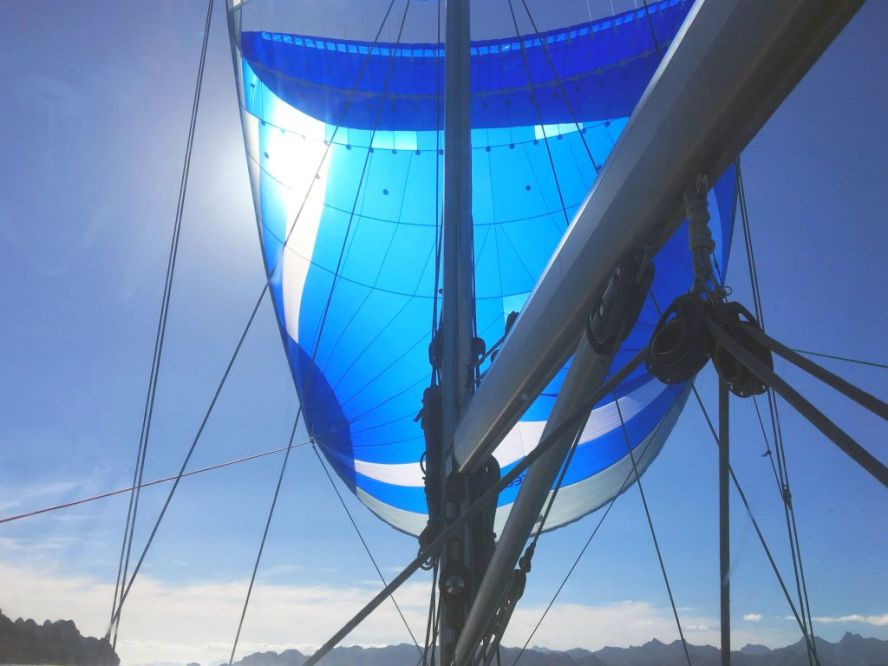 Monster Blue sailing south from Honeymoon Cove