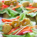 Chick Pea and Sweet Potato Lettuce Wraps with Mango Chipotle Sauce