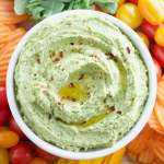 5-Minute Red Pepper Arugula Hummus
