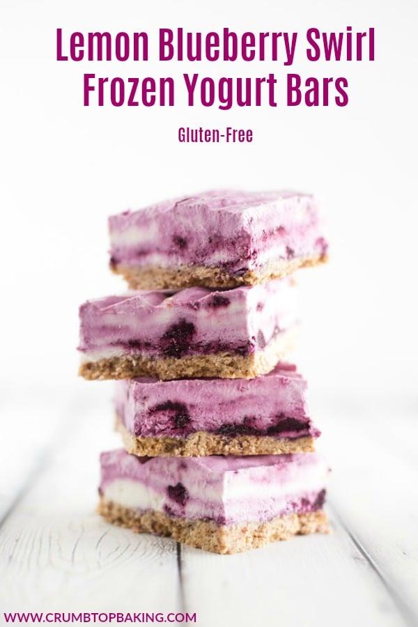 Pinterest image for Lemon Blueberry Swirl Frozen Yogurt Bars.