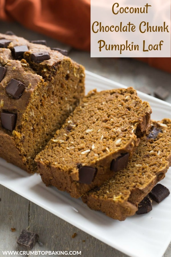 Pinterest image for Coconut Chocolate Chunk Pumpkin Loaf.