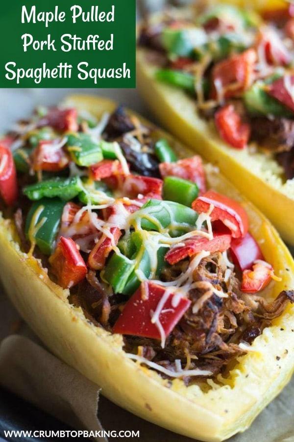 Pinterest image for Maple Pulled Pork Stuffed Spaghetti Squash.