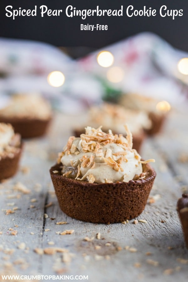 Pinterest image for Spiced Pear Gingerbread Cookie Cups.
