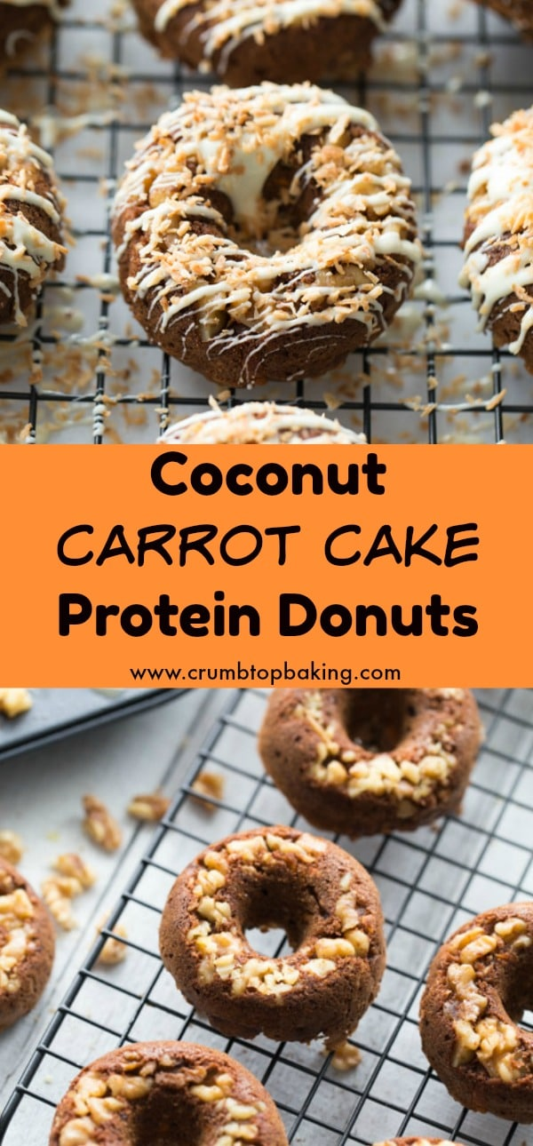Pinterest image of Coconut Carrot Cake Protein Donuts on a wire cooling rack.