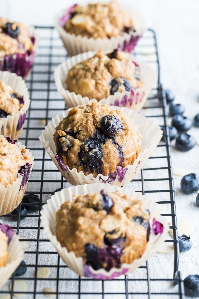 Blueberry Vanilla Almond Overnight Oatmeal Muffins