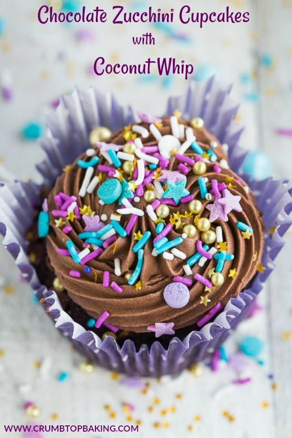 Pinterest image for Chocolate Zucchini Cupcakes.