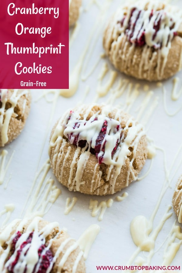 Pinterest image for Cranberry Orange Thumbprint Cookies.
