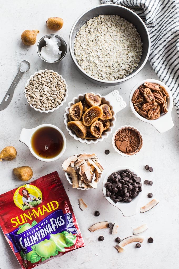 Overhead view of ingredients to make Chocolate Fig Grain-Free Granola.
